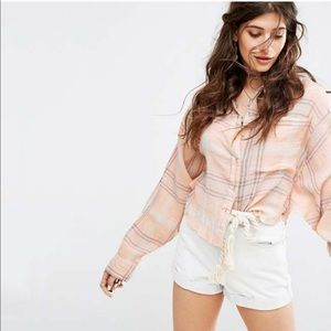 Free People Cropped Cutie Batwing Plaid Flannel